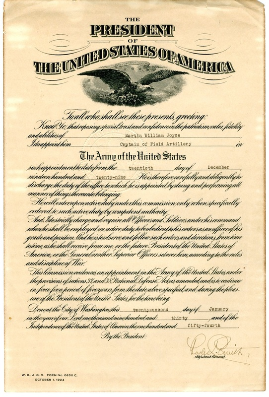 Documents 120 Lt Col Martin W Joyce Papers – Oath of Office Template